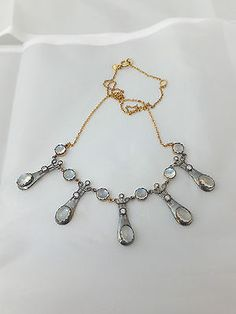 Stunning gold & silver Arts & crafts design Moonstone & Diamond necklace