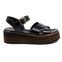 V 1969 Italia Womens Flatform Sandal – Reseller Hub Discount Perfume, Sandals For Sale, Ankle Straps, Black Sandals, Calf Leather, Versace, Calves, Loafers, Stuff To Buy