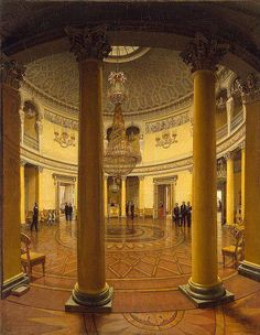 Winter Palace, Russia. The Rotonda. This circular hall, dating from the early 19th century, links the state and private rooms of the palace, and represents the final and neoclassical stage of the palace's evolution.