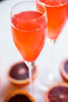 Twist on a classic Bellini cocktail: Blood orange! Great idea for a Halloween brunch menu.