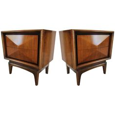 Pair of Mid Century Modern Bedside Tables in the Style of Kagan | From a unique collection of antique and modern night stands at https://www.1stdibs.com/furniture/tables/night-stands/