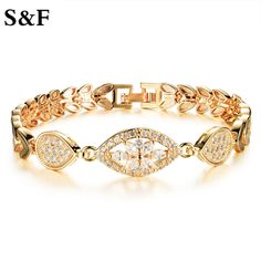 Fashion Bangle Luxury Gold Color Shining AAA Cubic Zircon Crystal Chain Link Bracelet for Women Ladies Hot Birthday Jewelry Gift
