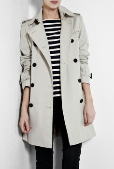 Style Suggestion - Trench Coat, Black Skinny Jeans, Striped Top