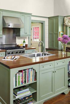 Olive Green Kitchen, Green Kitchen Island, Sage Kitchen, Green Kitchen Cabinets, Kitchen Cabinet Colors, Kitchen Redo, Country Kitchen, New Kitchen, White Cabinets