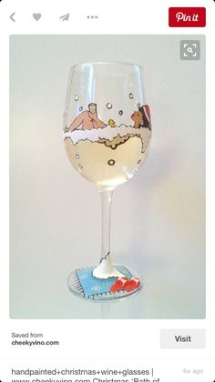 handpainted bubble bath wine glass