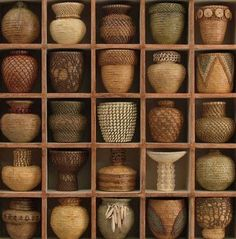 Lissa Hunter hand coiled baskets mounted in wall boxes, shown by Robyn Gordon - Printed. Deco Restaurant, Keramik Vase, Displaying Collections, Basket Weaving, Woven Baskets, Bamboo Weaving, Picnic Baskets, Wabi Sabi, Wicker