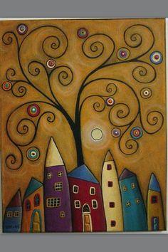 Diy Diamond Painting Christmas Decoration Diamond Embroidery Mosaic Handmade Children's Gift Cross Stitch, Anime House Tree Country Paintings, Cross Paintings, Silk Painting, Whimsical Art, Art Plastique, Tree Art, Doodle Art, Painted Rocks, Folk Art