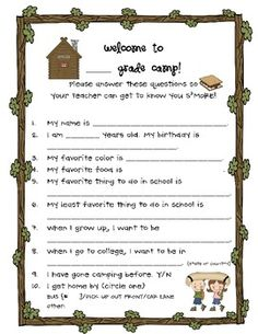 This sheet can be a fun get-to-know-you for students on a back to school night, parent night, or the first day of school! And, of course, it's camp...