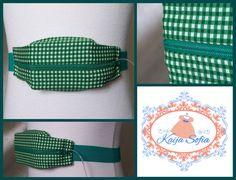 Green gingham insulin pump belt with green elastic. by KaijaSofia