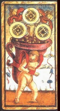 Italian Tarot Cards:  Three of Coins:  Meaning of Three of Coins from the Sola Busca Deck   Upright:   Financial responsibility. Working for a living.   Reversed:   Inheritance. Old Money.   source: Italian Tarot/Sola Busca/Italy, c.1491