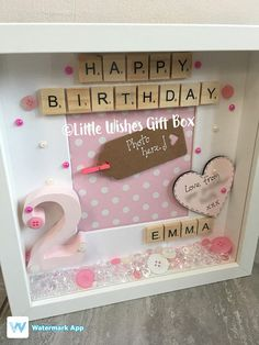 Childs Birthday personalised box frame photo frame happy