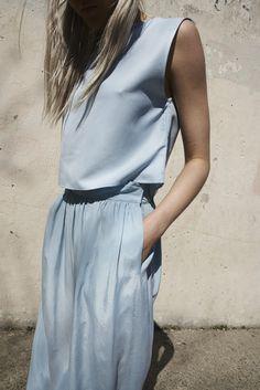 906d1d183 Jesse Kamm Ranch Skirt in Piscine Blue | Oroboro | Brooklyn, New York  Minimalist Fashion