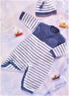 Diy Crafts - Vintage Knitting Pattern Baby to Toddler Boy Striped Romper Playsuit & Hat Set PDF Instant Digital D Knitting For Kids, Baby Knitting Patterns, Baby Patterns, Knitted Baby Clothes, Knitted Romper, Layette Pattern, Striped Playsuit, Playsuit Romper, Crochet Bebe