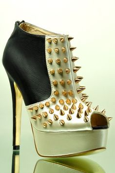 High Heel Studded Boots with Peep Toe. Weapons too