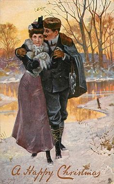 couple returning from ice skating, skates over his arm,she wears muff Edwardian Era, Victorian, Winter Images, Christmas Images, Site Design, Vintage Love, Ice Skating, 19th Century, Skate