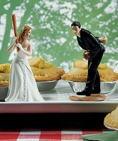 Bride Ready To Hit A Home Run with Groom Pitching Wedding Cake topper. Okay, Okay, THIS is what we will need. SERIOUSLY IN LOVE.