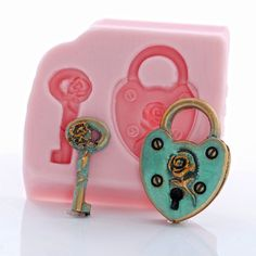 Heart Shaped Padlock Silicone Mold Food Safe by MoldMeShapeMe