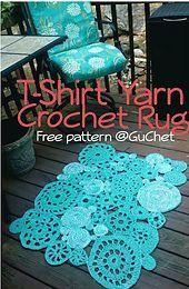 FREE Crochet Rug Pattern. Crochet Rug Pattern. Tshirt Yarn.