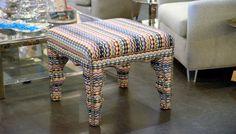 Upholstered #multicolored #ottoman at #Houston #Mecox #interiordesign #MecoxGardens #furniture #shopping #home #decor #design #room #designidea #vintage #antiques #garden