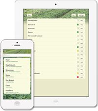 Healing Paths app, available for iPhone and iPad. to track health progress and dietary restrictions.
