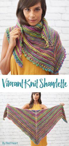 Vibrant Knit Shawlette free knit pattern Unforgettable Waves yarn.