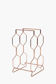 This elegant hexagon shaped wine rack holds up to 6 bottles also adding to a stylish decor piece for your cm Wine Rack Bar, Hexagon Shape, Party Shop, Bud Vases, Honeycomb, Wines, Bar Stools, Bottle, Dining