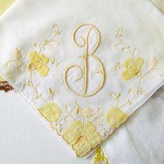 Monogramed B Vintage Handkerchief set of 3 by TeardropHankys, $20.00
