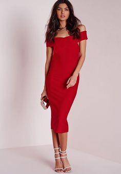 new Bardot Black Siren Midi Boning Dress Sweetheart Neckline - www Bardot Midi Dress, Red Midi Dress, Hot Dress, Midi Dresses, Black Siren, Fashion Company, Missguided, Cold Shoulder Dress, Feminine