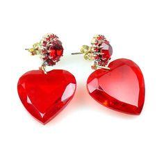 Hearts Red Dandling Valentine Earrings for pierced ears $10.90
