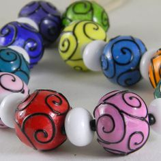 GMD Lampwork Beads BLACK LACED RAINBOW 11 scrolled rounds 12 spacers artisan SRA