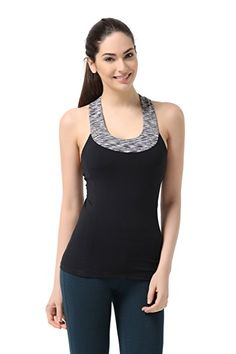 1c0501e80c WW SPORTOWN Women s Contrast Scoop Neck Yoga Tank Top with Built-in shelf  bra Fashion