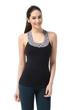 b229cc8b85 WW SPORTOWN Women s Contrast Scoop Neck Yoga Tank Top with Built-in shelf  bra Fashion