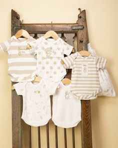 Pack of 5 Beige Bodysuits/Vests - Unisex Baby Clothes