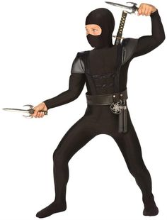 PartyBell.com - Black Fighter #Ninja Child #Costume