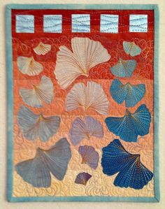 Ginkgo art quilt by Norma Schlager Asian Quilts, Japanese Quilts, Flower Quilts, Art And Craft Design, Landscape Quilts, Quilt Block Patterns, Leaf Art, Mini Quilts, Quilting Designs