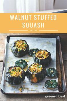 Walnut stuffed squash recipe – perfect for vegetarian or vegan Thanksgiving dishes! Autumn Recipes Vegetarian, Healthy Recipes On A Budget, Vegan Recipes Easy, Fall Recipes, Vegan Thanksgiving Dishes, Stuffed Squash, Squash Recipe, Vegetable Dishes, Favorite Recipes