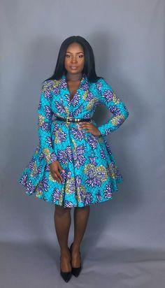 NEW IN:African clothingAfrican print wrap cowt dresshandmade Short African Dresses, Ankara Short Gown Styles, Trendy Ankara Styles, Latest African Fashion Dresses, African Print Dresses, African Print Fashion, Africa Fashion, Women's Fashion Dresses, Skirt Fashion