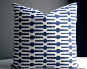 Navy Annie Selke Indigo links pillow cover, variety of sizes and colors, accent pillow,toss pillow throw pillow