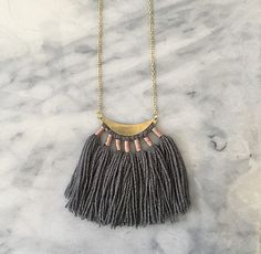 No. 1 // Fiber Necklace // Tassel Necklace by wildcolumbinetextile on Etsy https://www.etsy.com/listing/219068780/no-1-fiber-necklace-tassel-necklace