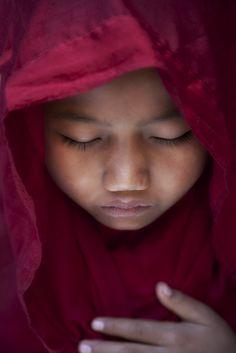 Praying Novice/ Bagan, Myanmar
