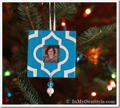 Scrap Fabric Christmas Tree Photo Ornaments - In My Own Style