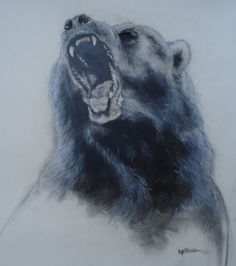 Charcoal and pastel on paper.
