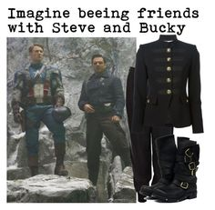 """""""#Imagine beeing friends with Steve and Bucky"""" by xniczax ❤ liked on Polyvore featuring Karen Millen, Jeffrey Campbell and Emilio Pucci"""