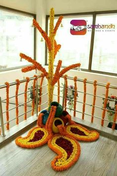 Diwali Flower Decoration At Home Diwali Decorations At Home, Stage Decorations, Indian Wedding Decorations, Festival Decorations, Flower Decorations, Rangoli Designs Flower, Rangoli Designs Diwali, Flower Rangoli, Beautiful Rangoli Designs