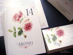 Accesorii de nuntă vintage, ilustrate cu trandafiri englezești roșii în acuarelă și tipărite pe un carton ivoire-auriu. Art, Art Background, Kunst, Performing Arts, Art Education Resources, Artworks