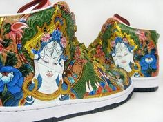 Personally, I prefer busy, detailed designs. The art on this shoe is immaculate, but they would look better with some variation between image and solid color. Instead of having the image cover the entire shoe, the toe and the fabric around the laces could be a solid color.