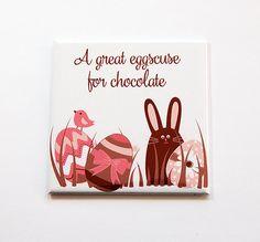 Easter Magnet, Chocolate Eggs, Magnet, Fridge magnet, Chocolate Easter Bunny, A great eggscuse for chocolate, Easter, Pink, Brown (5470) by KellysMagnets on Etsy