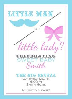 Gender Reveal Invitation--- I think I will do this for my next baby! Baby Gender Reveal Party, Gender Party, Shower Party, Baby Shower Parties, Baby Showers, Big Shower, Just In Case, Just For You, Gender Reveal Invitations