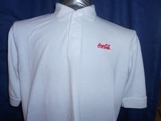 Coca-Cola Polo Rugby Golf Shirt XL White Short Sleeve Cotton Poly Blend Coke  #CocaCola #PoloRugby
