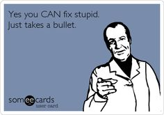Yes you CAN fix stupid. Just takes a bullet.